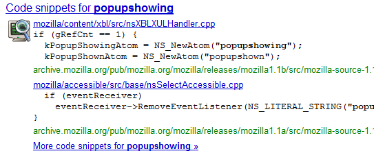 Source Code Snippets In Google Search Results