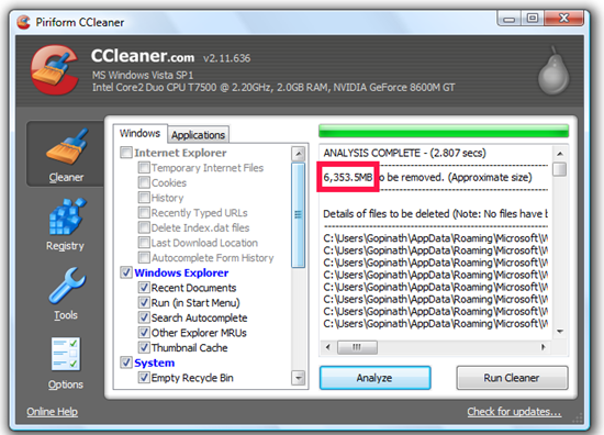 Delete unwanted files from your computer using CC Cleaner