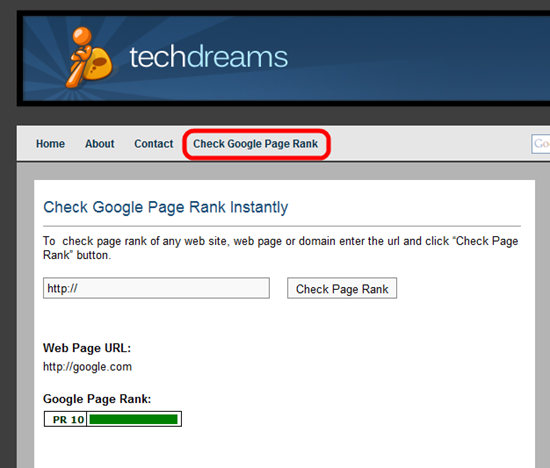Check_Google_Page_Rank_Using_Tech_Dreams_Free_Tool