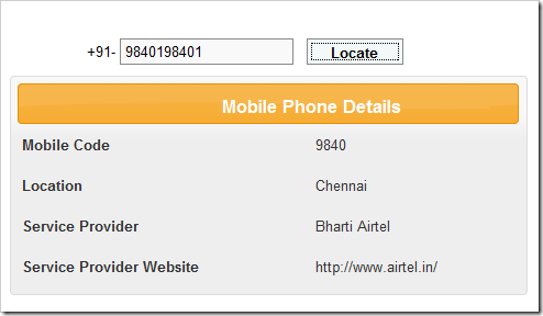 How to find service provider with imei number
