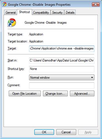 Google Chrome Properties