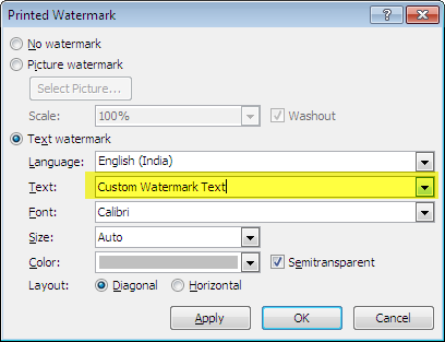 add watermark in word document
