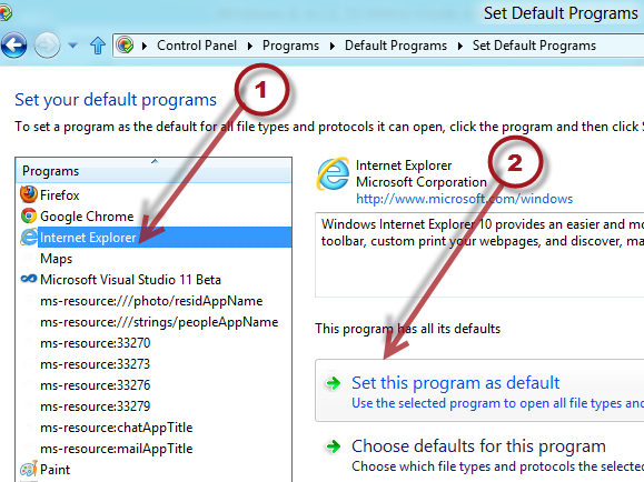 how to use internet explorer as default browser
