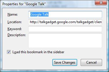 Google-talk-bookmark-properties