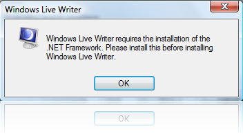 Windows Live Writer Installation Error - requires the installation of the .NET Framework