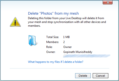 Deleting a Live Mesh Desktop Folder