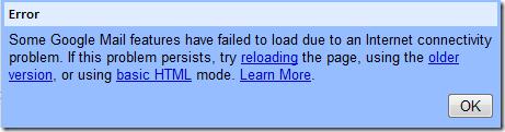 GMail Server Error 2
