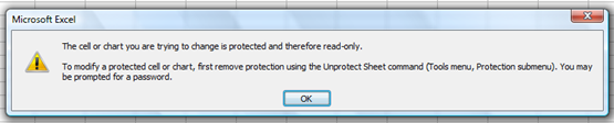 Microsoft Excel Error Message When User Tries To Edit Password Protected Sheet