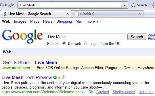 Microsoft Live Mesh Promotion Ad On Google Search