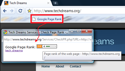 Check Google Page Rank Of A Web Page In Chrome Browser