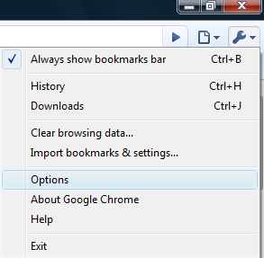 Google Chrome Options Menu