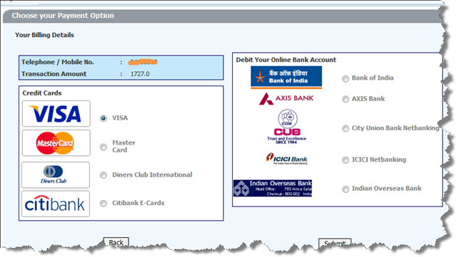View & pay your bsnl mobile, telephone and broadband bills.