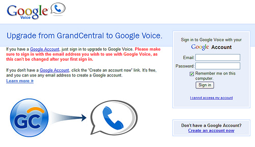 Google Voice Login Screen