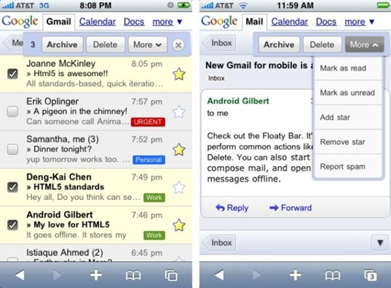 New mobile version of Gmail.