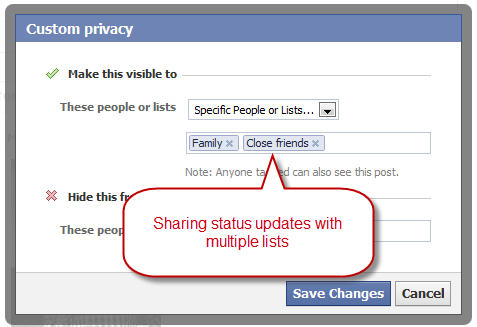 share_facebook_status_with_multiple_lists