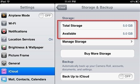 Ios 5 View Details Of Used And Unused Space Of Your